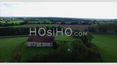 Old Church In The Countryside In Normandy, France – Aerial Video Drone Footage
