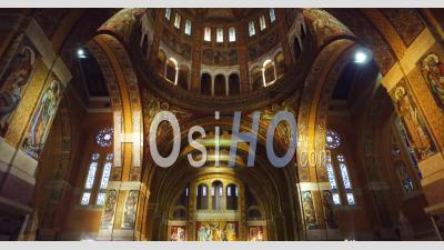 Basilica Of St Therese Of Lisieux Church – Interior – Lisieux, Calvados, Normandy, France – By Drone