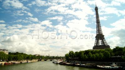 Timelapse Of Paris, The Eiffel Tower And The Seine River