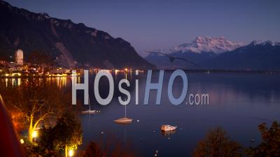 Time Lapse. Sunset Over The Lake Geneva And Montreux