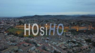 Carcassonne Old City Illuminated At Dusk - Video Drone Footage