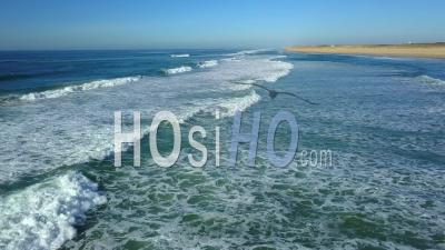 Aerial View, Waves On Beach, Cap Ferret, Dune Of Pilat, Gironde, Aquitaine - Video Drone Footage