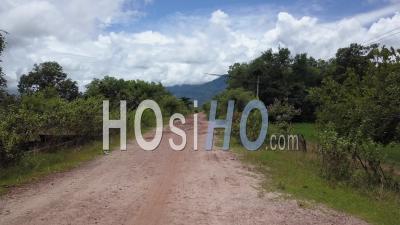 Route Dans Le Village De Champassak Sur Le Mékong, Vue Depuis Un Drone