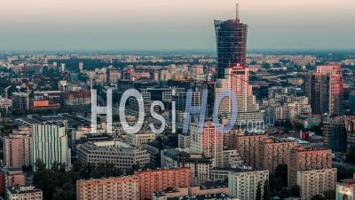 Warsaw City Center, Warsaw, Warszawa - Video Drone Footage
