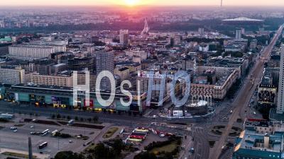 Rondo Dmowskiego, Marszalkowska, Aleje Jerozolimskie, Varsovie, Vidéo Drone