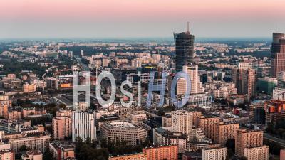 Warsaw City Center, Warsaw, Warszawa - Video Drone Footage