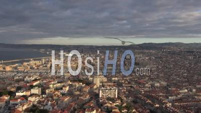 Panorama Of Marseille City And Port, Marseille, France - Video Drone Footage