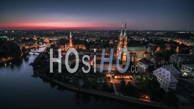 Ostrow Tumski, Cathedral Of St. John The Baptist, Katedra Swietego Jana Chrzciciela, Old Town, Wroclaw, Night - Video Drone Footage