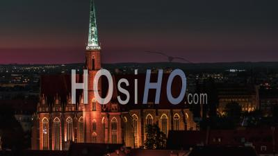 Cathedral Of St. John The Baptist, Katedra Swietego Jana Chrzciciela, Old Town, Stare Miasto, Wroclaw, Night, Seen By Drone