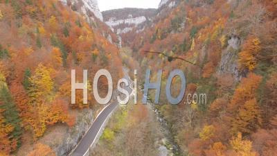 Gorges De La Bourne Valley Gorge In Autumn, By Drone