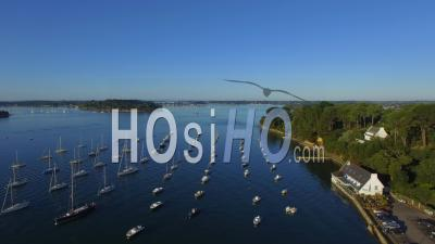 The Harbor Of Arradon In The Golfe Du Morbihan - Video Drone Footage