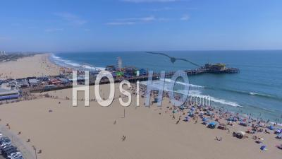 Santa Monica Pier And Ocean Front Beach Drone Video California Usa - Drone Point Of View