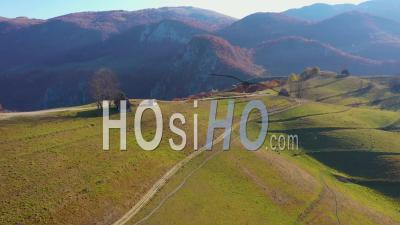 Flying Above Remote Mountain Village - Video Drone Footage