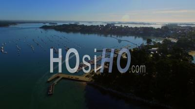 The Little Harbor Of The Ile Aux Moines - Video Drone Footage