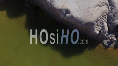 Toxic Polluted Lake In A Opencast Mine - Video Drone Footage