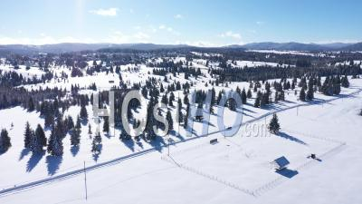 Flying Over Winter Mountains - Drone Point Of View