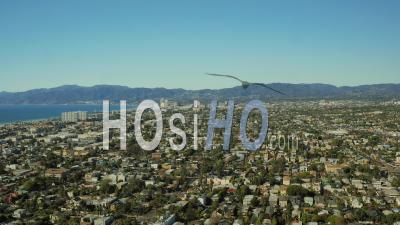 Los Angeles Aerial Flying Over Santa Monica California Area Neighborhoods Panning - Drone Point Of View