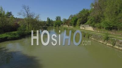 Nerac Village From Baise River - Video Drone Footage