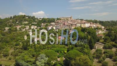 Panoramic View Of The Typical Provencal Village Of Callian - Video Drone Footage