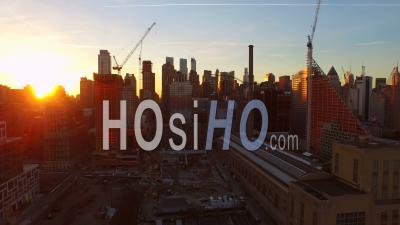 Nyc New York Usa Flying Low Into West Side Manhattan Towards Midtown Between Buildings At Sunrise - Video Drone Footage
