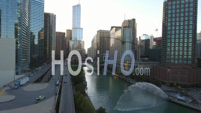 Downtown Chicago And Chicago River Illinois Usa Drone Footage - Drone Point Of View