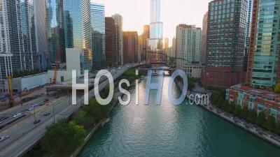 Downtown Chicago And Chicago River Illinois Usa Drone Footage - Video Drone Footage