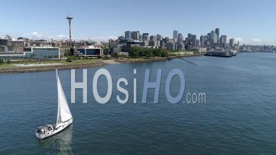 Pacific Northwest Seattle Washington Drone Video Of The Waterfront Downtown Cityscape With Space Needle - Drone Point Of View
