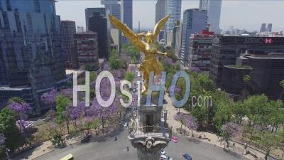The Angel Of Independence Paseo De La Reforma Mexico City - Video Drone Footage