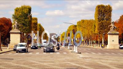 Champs Elysees Traffic In Autum, Timelapse