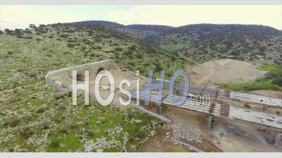 Large Highway Construction Project Of Bridges And Tunnels In Israel - Drone Point Of View