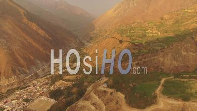 Peru Flying Over Mountain Hillsides And San Jeronimo De Surco - Video Drone Footage
