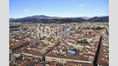 Ponte Vecchio In Florence, Italian Region Of Tuscany, Italy - Aerial Photography