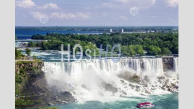Aerial View At Niagara Falls Waterfalls On The Western Bank Of The Niagara River In The Golden Horseshoe Region Of Southern Ontario - Aerial Photography