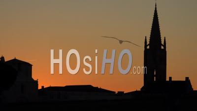 Timelapse At Sunrise On The Steeple Of The Church Of Saint-Emilion, Gironde, France