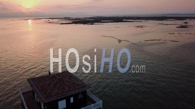 Two Cabanes Tchanquees, Bassin D'arcachon, France, Drone Point Of View