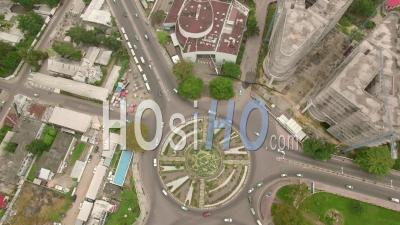 Roundabout Of The Place De La Liberte In Brazzaville, Video Drone Footage
