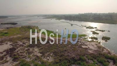 The Congo And The Cataractes Beach In Brazzaville, Video Drone Footage