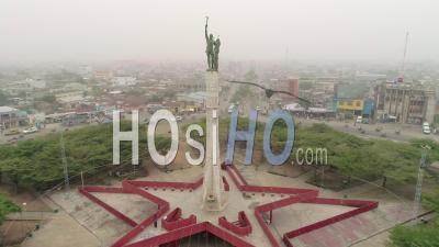The Place Of The Red Star In Cotonou, Video Drone Footage