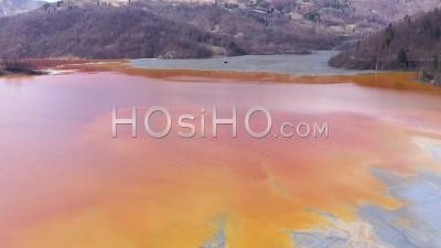 Water Pollution By Toxic Waste From Mining, Romania  - Drone Point Of View