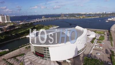 American Airlines Arena Downtown Miami Ocean - Video Drone Footage
