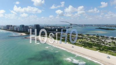 Gorgeous Aerial Views Of Miami Beach From The Water - Video Drone Footage