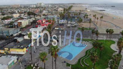 Flying South Over Venice Beach California - Video Drone Footage