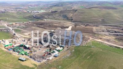 Large Landfill, Waste From Household Dumping Site - Video Drone Footage