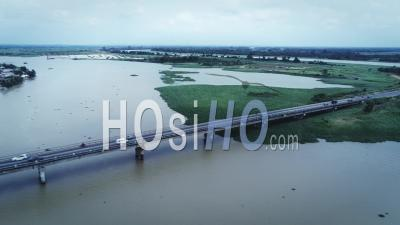 Rain On Bassam Bridge - Video Drone Footage