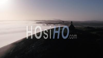 Saint Michel De Braspart Between Clouds And Sun, Brittany, France - Video Drone Footage