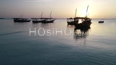 Fishing Boat At Sunset, Zanzibar, Tanzania - Drone Point Of View