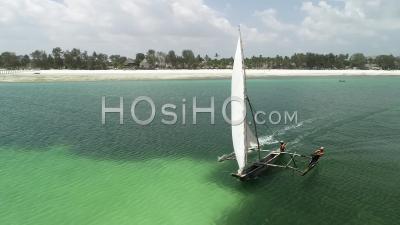 Over Dhow, Zanzibar, Tanzania - Video Drone Footage