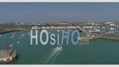 Granville's Harbor, Manche, France - Video Drone Footage