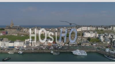 Granville's Harbor, Manche, France - Video Drone Footage