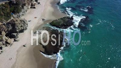 Waves Crushing On Rocks In Laguna Beach, California - Video Drone Footage